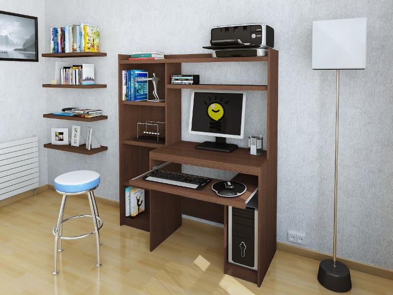 Escritorio mesa para pc reproex r11813 con alzada y biblioteca for Pc de oficina