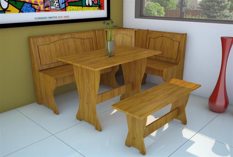 Juego de comedor rinconero en mdf bancos mesa for Mesa cocina con banco esquinero
